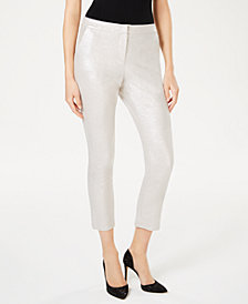I.N.C. Foil Crêpe Skinny Pants, Created for Macy's