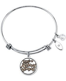 "Unwritten ""Here's to Strong Women"" Charm Bangle Bracelet in Stainless Steel and Gold-Tone"