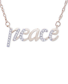 "Wrapped™ Diamond Peace 17"" Pendant Necklace (1/10 ct. t.w.) in 14k Gold, Created for Macy's"
