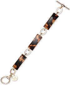 Lauren Ralph Lauren Gold-Tone Link & Tortoiseshell-Look Flex Bracelet