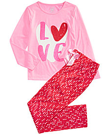 Max & Olivia Big Girls 2-Pc. Love Pajama Set