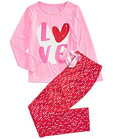 Max & Olivia Big Girls 2-Pc. Love Pajama Set