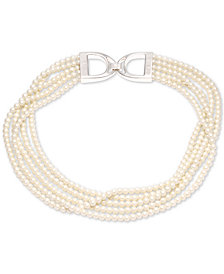 "Lauren Ralph Lauren Silver-Tone Imitation Pearl Multi-Row 18"" Collar Necklace"