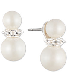 Lauren Ralph Lauren Silver-Tone Double Imitation Pearl & Link Stud Earrings