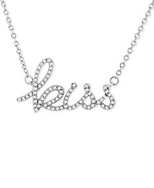 "Wrapped™ Diamond ""Kiss"" 17"" Pendant Necklace (1/6 ct. t.w.) in 14k White Gold, Created for Macy's"