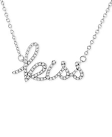 """Wrapped™ Diamond """"Kiss"""" 17"""" Pendant Necklace (1/6 ct. t.w.) in 14k White Gold, Created for Macy's"""