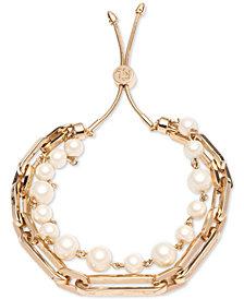 Lauren Ralph Lauren Gold-Tone Link & Imitation Pearl Double-Row Slider Bracelet
