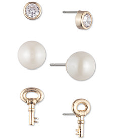 Lauren Ralph Lauren Gold-Tone 3-Pc. Set Crystal, Imitation Pearl & Key Stud Earrings