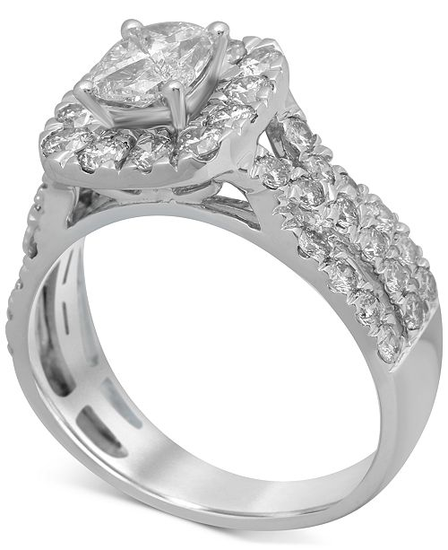 Macy's Diamond Halo Engagement Ring (2 ct. t.w.) in 14k White Gold