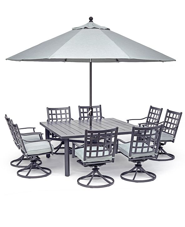 """Furniture Highland Aluminum Outdoor 9-Pc. Dining Set (64"""" Square Dining Table and 8 Swivel Rockers) with Sunbrella® Cushions, Created for Macy's"""