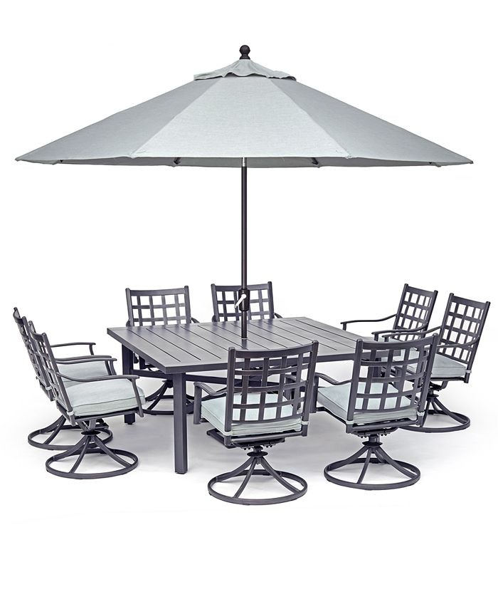 Furniture Highland Aluminum Outdoor 9 Pc Dining Set 64 Square Dining Table And 8 Swivel Rockers With Sunbrella Cushions Created For Macy S Reviews Furniture Macy S