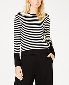Eileen Fisher Tencel ™ Round-Neck Striped Sweater, Regular & Petite