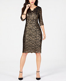 Thalia Sodi Metallic Lace Dress, Created for Macy's