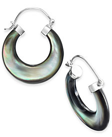 Black Mother-of-Pearl Hoop Earrings in Sterling Silver