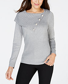 NY Collection Petite Envelope-Neck Button-Trim Sweater