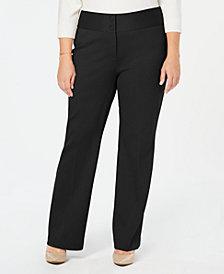 Alfani Plus Size Wide-Leg Tummy-Control Pants, Created for Macy's