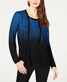 NY Collection Petite Layered-Look Ombré Cardigan