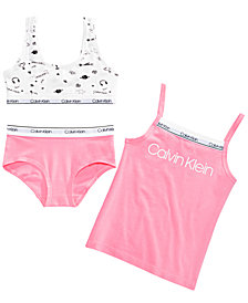 Calvin Klein Little & Big Girls 3-Pc. Cotton Logo Tank Top, Bra & Underwear Set