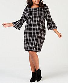 NY Collection Plus Size Plaid Jacquard Dress
