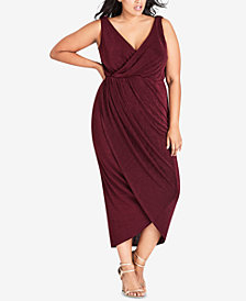 City Chic Trendy Plus Size Cowl-Back Faux-Wrap Dress