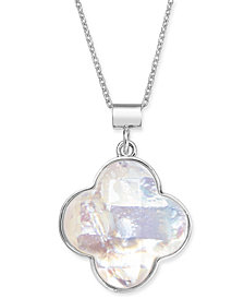 "Mother-of-Pearl Clover 18"" Pendant Necklace in Sterling Silver"