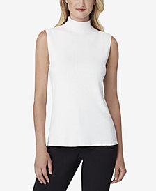 Tahari ASL Ribbed Mock-Neck Blouse