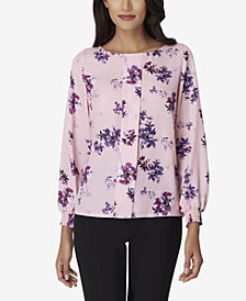 Tahari ASL Pleat-Front Smocked-Back Blouse
