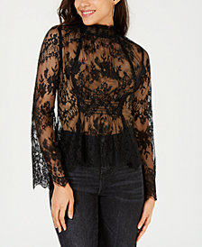 LEYDEN Sheer Lace Mock-Neck Top