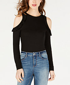 Material Girl Juniors' Cold-Shoulder Bodysuit, Created for Macy's