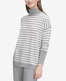 Calvin Klein Cashmere Striped Turtleneck Sweater