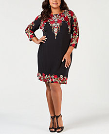 JM Collection Petite Plus Size Embellished Printed Dress, Created for Macy's