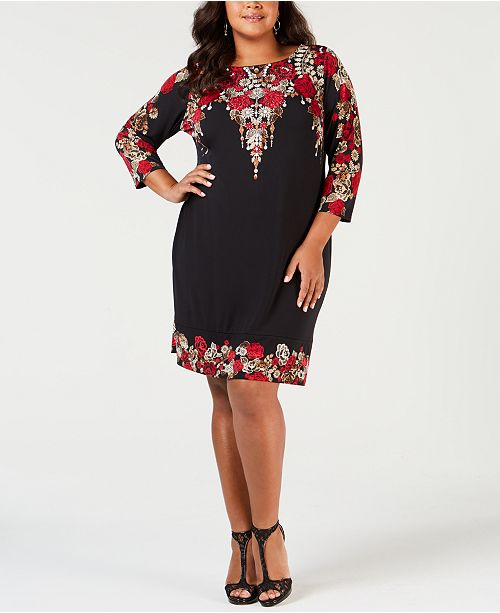 JM Collection Petite Plus Size Embellished Printed Dress, Created ...