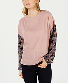 Gypsies & Moondust Juniors' Printed-Sleeve Waffle-Knit Top