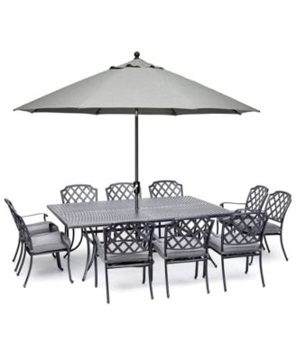 """Vintage II Outdoor Cast Aluminum 11-Pc. Dining Set (84"""" X 60"""" Table & 10 Dining Chairs) With Sunbrella® Cushions, Created for Macy's"""