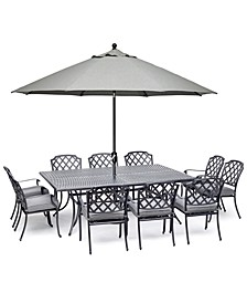 "Vintage II Outdoor Cast Aluminum 11-Pc. Dining Set (84"" X 60"" Table & 10 Dining Chairs) With Sunbrella® Cushions, Created for Macy's"