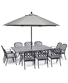 """Grove Hill II Outdoor Cast Aluminum 11-Pc. Dining Set (84"""" X 60"""" Table & 10 Dining Chairs) With Sunbrella® Cushions, Created For Macy's"""