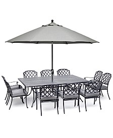 "Grove Hill II Outdoor Cast Aluminum 11-Pc. Dining Set (84"" X 60"" Table & 10 Dining Chairs) With Sunbrella® Cushions, Created For Macy's"