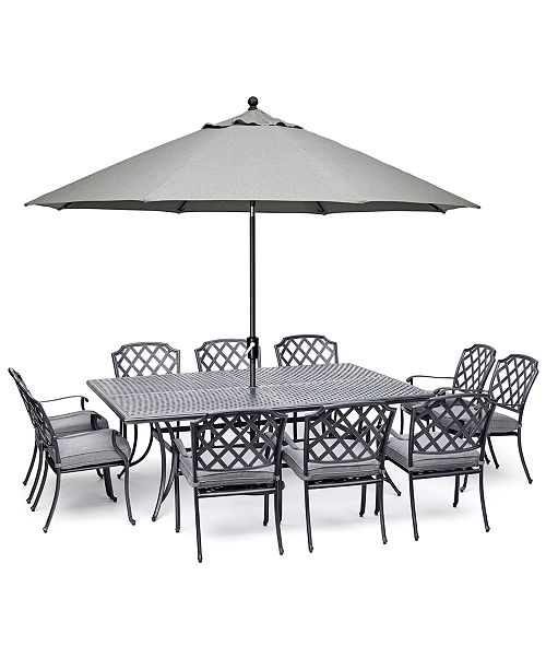 "Furniture Vintage II Outdoor Cast Aluminum 11-Pc. Dining Set (84"" X 60"" Table & 10 Dining Chairs) With Sunbrella® Cushions, Created For Macy's"