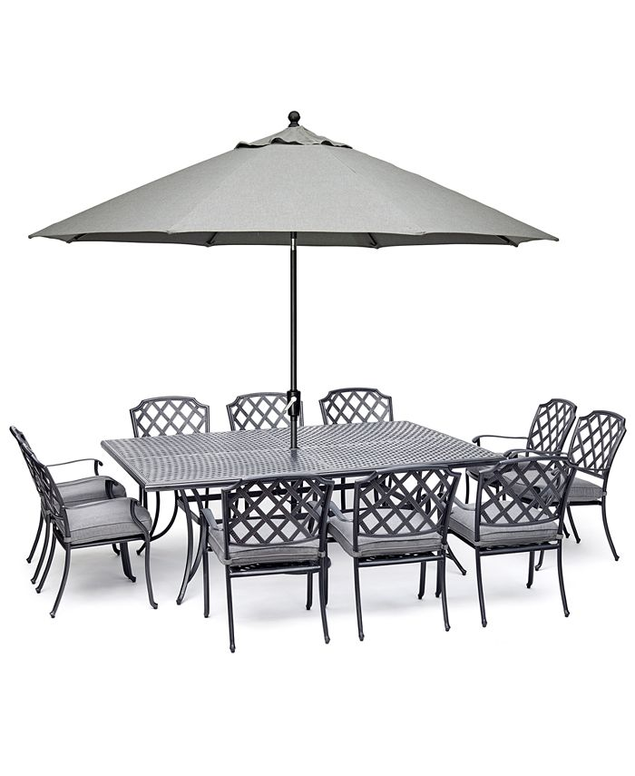 """Furniture - Vintage II Outdoor Cast Aluminum 11-Pc. Dining Set (84"""" X 60"""" Table & 10 Dining Chairs) With Sunbrella® Cushions, Created For Macy's"""