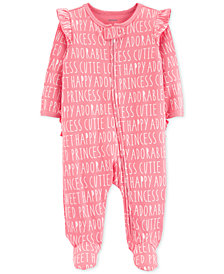 Carter's Baby Girls All-Over Words Cotton Footed Pajamas