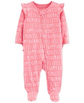 1490e939d Carter's Baby Girls All-Over Words Cotton Footed Pajamas