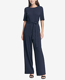 DKNY Pinstriped Belted Jumpsuit, Created for Macy's