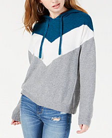 Hippie Rose Juniors' Colorblocked Chevron Hoodie