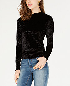 Planet Gold Juniors' Velvet Mock-Neck Top
