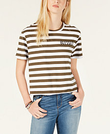 Rebellious One Juniors' Blessed Striped Raw-Edge T-Shirt