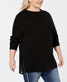 Say What? Plus Size Mesh-Back Tunic