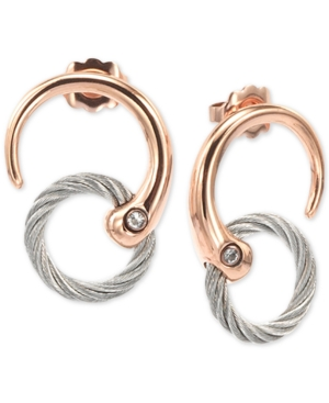 White Topaz Two-Tone Circle Cable Drop Earrings in Pvd Stainless Steel and Rose Gold-Tone