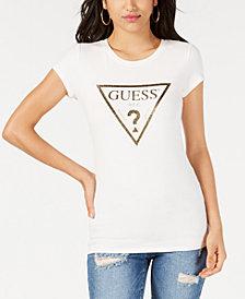 GUESS Glitter Logo-Print T-Shirt