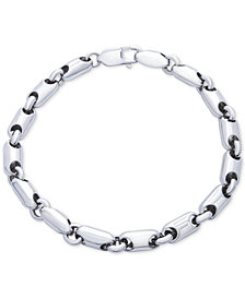 Men's Polished Rounded Link Bracelet in Sterling Silver