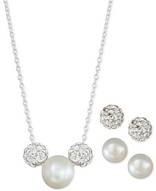 3-Pc. Set Cultured Freshwater Pearl & Crystal Fireballs Pendant Necklace & 2-Pr. Matching Stud Earrings